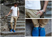 Alexeev S - H&M T Shirt, Polo Ralph Lauren Chinos, Ray Ban Glasses -  Blue & Natural