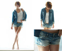 Lyla Lin - H&M Denim Shirt, Taipei Tank, Some One Jean Shorts - Looking out the window