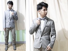 Reyner Cadapan - From Hongkong Gray Silver Suit, Dockers Faded Brown Pants, Sahara Checkered Polo, Dr. Scholl's Gray Double Air Pillow Shoes, Armando Caruso Checkered Bowtie - CORNER