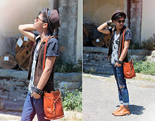 Jerome Centeno - Vintage Leather Satchel, Vintage Leather Boots, Sm Dept. Ph Trilby Hat, H&M Leopard Glasses, H&M All Bracelets, Vintage Cowboy Leather Vest, Zara Printed Shirt, 'Z' Distressed Skinny Jeans - The Sun is Brighter than Ever