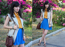 Fashion Pea - Asos Pleated Skirt, Mango Sandals, Zara Sleeveless Jacket - Mustard and blue