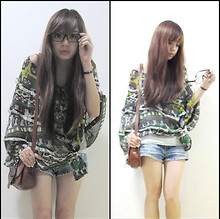 Dee Leah - Room 707 Poncho, Ripped Shorts, Mum's Vintage Sling Purse, Aldo Love Ring - With or Without You