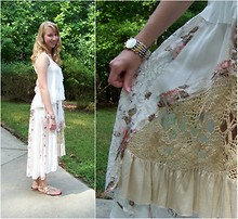 Dana B - Free People White Blouse, Aldo Sandals, Free People Crochet And Lace Skirt - New Romantics