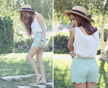 Bethany Struble - Mint Green Shorts, Thrifted White Tank Top, Thrifted Straw Hat With A Big Bow - This Summer