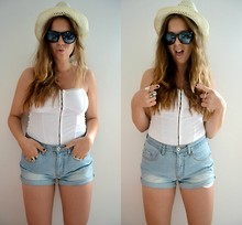 MELLi S - Denim Shorts, Bikbok Top, Bikbok Hat, Topshop Rings (Two Of Them) - : only action brings ideas to life.