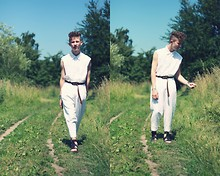 Oliver Anton - Diy Shirt, Asos Belt, Vintage Pants, Acne Studios Sandals - White with a hint of brown-ish.