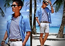Kutik T - H&M Striped Tee, Zara Grand Dad Collar Shirt, Topman Tailored Shorts - Wish you were here...