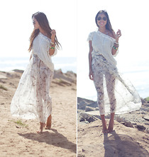 Aimee Song - Ray Ban Aviators, H&M Crochet Top, Evil Twin Sheer Maxi Skirt - Huntington Beach Getaway