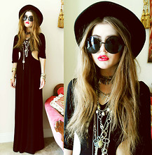 Bebe Zeva - Akira Black Label Maxi Dress, Cobrashop Almost Famous Sunglasses, Amen Necklaces - † OMENS AND AMENS †