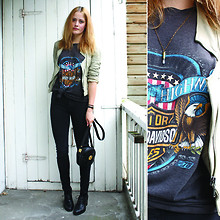 Renée Sturme - Zara Leather Jacket, Vintage, Wasteland Harley Davidson Tee, American Apparel Zipper Pants, Bagatt Brogues, By Me Crystal Bullet Necklace - Worn-out