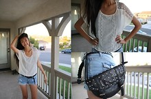 Amy P. - Lace Top, Distressed Light Washed Denim Shorts, Forever 21 Black Braided Belt, Studded Black Shoulder Bag - Like static, the way you put it on me is like magic