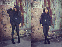 Eunicena . - Thrifted Black Sheer Button Down Top, Leggings, Asianvogue Pixie Wedge - Black for more