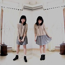 Nathania Hulu - Zara Top, Skirt, Socks, Lesele Ankle Boots - Metalic feat Brown