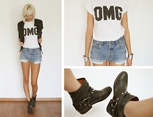 Sietske L - Only Edge Collection Leather Jacket, Topshop Omg Tee, Levi's® Vintage Shorts, Sacha Boots - OHMY..