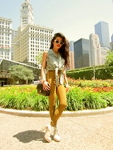 Olivia Lopez - American Apparel Riding Pants, Alexander Wang Boots, Silk Crop Top - City of Chicago