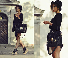 Mira Berglind - Black Purse, Black Vintage Dress, Jeffrey Campbell - ON THE ROAD WE USED TO WALK, BUT I'LL FLY JUST BECAUSE I CAN