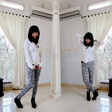Nathania Hulu - Future State Top, Unbranded Leggings, Lesele Boots - Black White you are still on