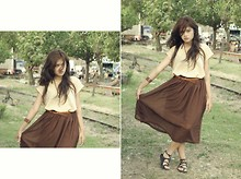 Monique Gracia - By Me Brown Maxi Dress, Mirota Brown Cofee Gladiator, Brown Bangles, Leather Belt - Evening brown