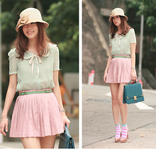 Mayo Wo - Christian Louboutin Nude Pumps, Jusco Bow Hat, Apple Green Lace Blouse, Green Slim Belt, Pink Pleated Skirt, Laurustinus Teal Bag, H&M Striped Socks - Antoinetted