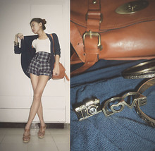 Anne Chloe Choi - Tan Satchel Bag, Plaid High Waist Shorts, Navy Blue Cardigan, Bazaar Love Connector Ring, Girlshoppe Camera Ring, Syrup Tan Wedge - Lookin' Kinda Preppy