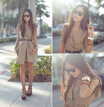 Aimee Song - Ray Ban Oversized Wayfarers, Herej Sleeveless Trench Dress, Ceek Sideway Cross Necklace - Rodeo Drive