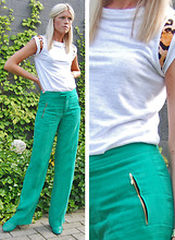 Valerie Brems - Filles A Papa Top, Zara Trousers, Marc By Jacobs Booties - Green meets green
