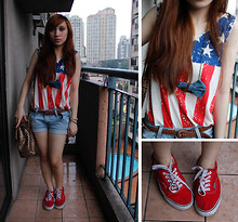 Pauline C - Vans Red, Greenhills Shorts, Bazaar Tank Top - In line with stars and stripes