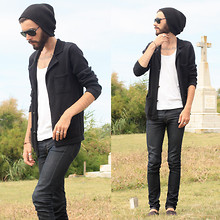 Tony Stone - Topman Black Bennie, Self Knitted Jacket, H&M White Tank, H&M Black Espadrilles, Ray Ban Black Sunglasses - SUMMER TIME/HOLIDAYS