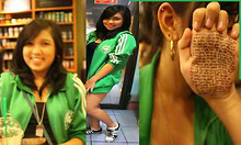 Ching Cortez - Adidas Green Varsity Jacket, Forever 21 Black Tank Top, Adidas Black And White Sneakers - FAKED SMILE :)