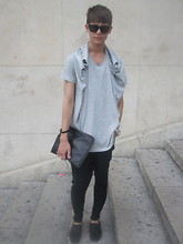 Damien Verhagen - Complex Geometry Top, Zara Harem Pants, Rudsak Leather Pouch, Ray Ban Sunglasses, Mango Loafers, Fossil Watch - An afternoon in Paris