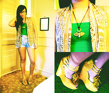 Ish Manuelle - Grandma's Closet Ethnic Vest, Makes It Complete Gothic Necklace, Ukay Denims, Janilyn Mustard Frilly Wedges - ECHO NOMICAL.