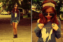 Gela Muñoz - Thrifted Periwinkle Sweater, Mint Denim Cut Offs, Foshoes Ankle Boots, Accessorize Headband, My Brother's Closet Aviators, Chick Flick Feather Bib - A Feathery Revival