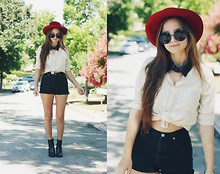 Bethany Struble - Thrifted Red Hat, Thrifted Tie Up Blouse, Leather Collar, Ralph Lauren Diy Black High Waisted Shorts, Thrifted Black Ankle Boots - I Spy