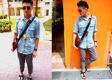 Adrian Jiun - H&M Sunglasses, Cotton On Vintage Jeans Shirt, Naked Vintage Pants, Polo Ralph Lauren Leather Sling Bag, Birkenstock Sandles, Sony Ericsson X10 Mini Android - UNder ShAved - Weather Cooler