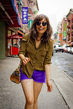 Jennine Jacob - J Brand Colored Denim Shorts, J. Crew Silk Blouse, Pendleton Tribal Bag, Super Round Sunglasses - Secondary Colors // Primary Obsession