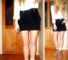 Holly Tomkins - Topshop Navy Skirt, Topshop Knitted Jumper, Starting To Dislike These Shoes/Boots Now.. - Shock, shock!""