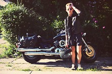 Oliver Anton - Asos Vinyl Jacket, Giorgio Armani Plain Black Tee, Diy Handcuffs, Random Sunglasses, H&M Metallic Shorts, Converse Shoes - Best thing I know, is a motorcycle ride with my dad!