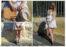 Jenna Maree-Kipling - Vintage Crochet Wasitcoat, Diva Bambi Pendant Necklace, Vintage Camel Leather Clutch, 70's Vintage Round Sunglasses, Mr Price White Flounce Dress, Mr Price Black Strap Wedges, Chinese Shop Latice Hat - Vintage loving the sunshine