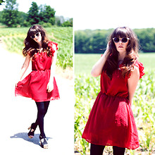 Rachel-Marie Iwanyszyn - H&M Glasses, Romwe Red Dress, Black Tights, Platform Heels, Http://Www.Jaglever.Com - Urban Farming
