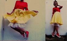 Ava S - Beyond Retro Yellow Head Scarf, 2hand Red Cardigan Worn Backwards, Homemade Yellow Skirt, Converse Red - D.I.Y 50's