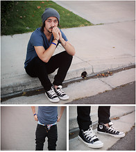 Andrew Gibson - Bdg Beanie, H&M T Shirt, Levi's® Jeans, Converse Chuck Taylor's, Bdg Underwear - Basic.