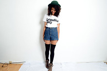 Zoe Badley - Vintage Bowler Hat, American Apparel High Waist Shorts - Creature Fear