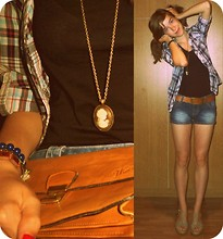 Shauni Z - Appel's Shorts, Wedges, Vintage Clutch, Pimkie Vest, C&A Top, Pieces Necklace, Belt - YOU ONLY LIVE ONCE.