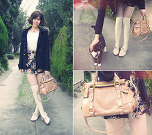Sushi Girl - Forever New Fur Trim Peacoat, Miu Mini Bow Bag, Forever New Heart Print Tights, Rmk Nude Brogues - Mini bow bag!