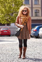 Brittany W - Topshop Scarf, Bluebird Dress, Miz Mooz Lace Up Boots, Vintage Sunnies - Spotted