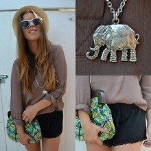 MELLi S - Primark Necklace, H&M Shorts, Gina Tricot Top, London Bag, Kappahl Hat - : water for elephants
