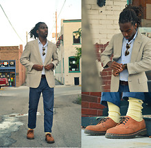 Zachary Gray - Thrift Store Linen Sport Coat, H&M Trousers, Dr. Martens 4 Eye Shoes, Lacoste Socks, Brooks Brothers Linen Shirt, Thrift Store Shades - Amor Fati
