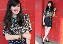 Fashion Pea - Mango Leopard Shirt, American Apparel Brown Skinny Belt, Zara Polka Dot Skirt, Marni Pumps - Polka leopard