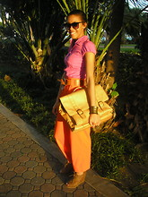 Hadassah M - It's My Dad's Satchel, Forever 21 Wedges, Vintage Pants, Levi's® Belt - Color Blocking