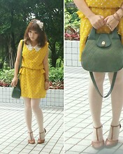 Tamiko Chan - Thrift Shop Yellow White Pokka Dotted Dress, Vintage Shoulder Handbag, Asos T Bar Heels, Forever 21 Three Diamonds Ring - Yellow loves green